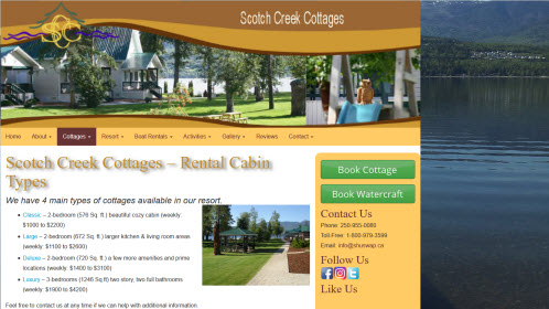 Cottages Rental Shuswap Lake BC