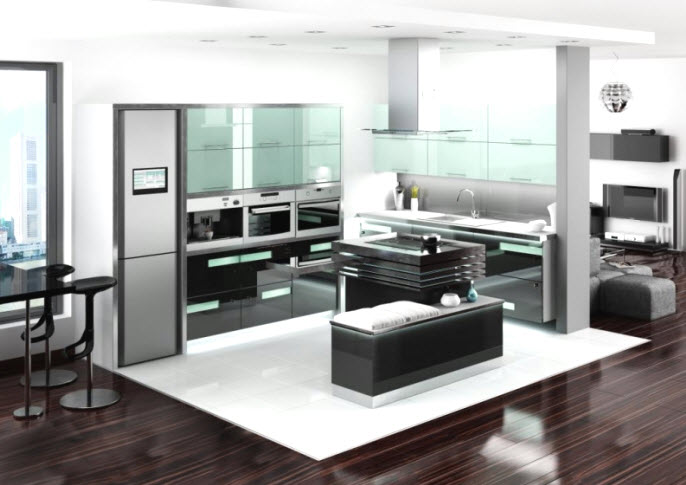 armoire de cuisine en aluminium. Black Bedroom Furniture Sets. Home Design Ideas